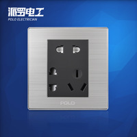 Wholesale POLO Luxury 7 Hole Wall Socket Panel, 7-Pins Outlet, Champagne/Black, Electric Socket, 16A, 110~250V, 220V,86*86mm
