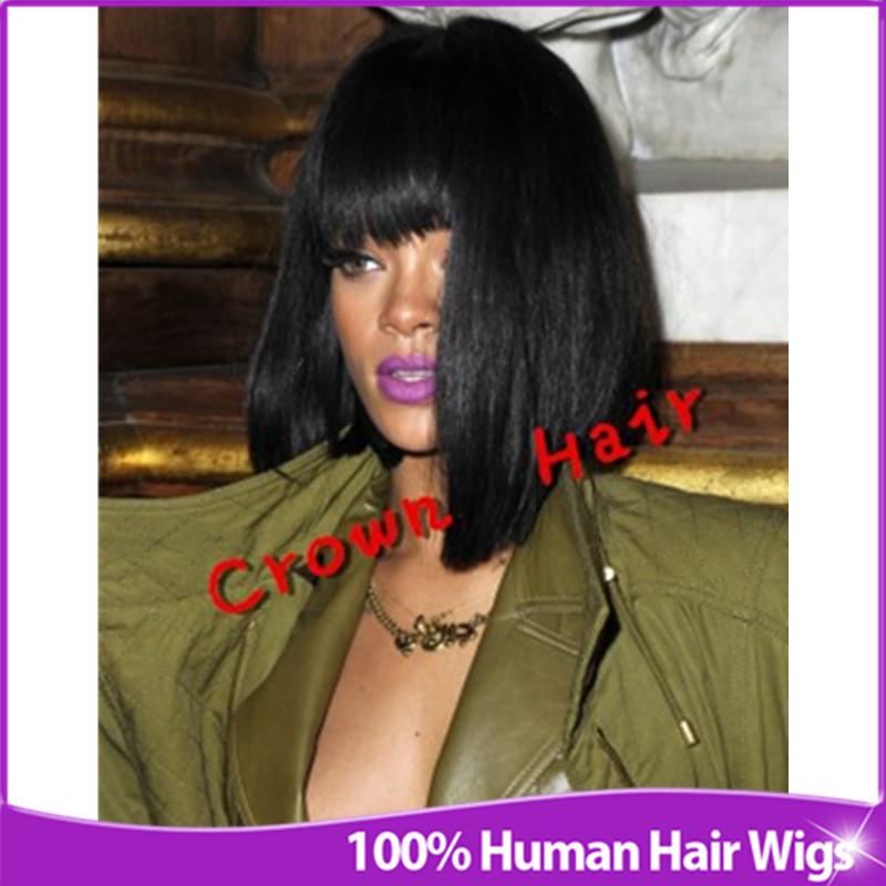 Celebridade Rihanna Glueless parte dianteira do la?o & Full Lace Wig Short Black Bob reta perucas de cabelo humano com franja para afro-americanos(China (Mainland))