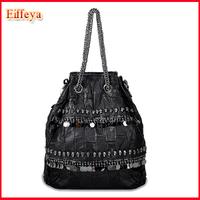 Patchwork Genuine Leather Women's Handbag Sheepskin Rivet Skull Metal Chain Small Bags Punk Bucket Shoulder Bags