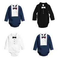 1pcs Baby Boys Rompers Size 80-100cm Child Bowtie Gentleman Clothing Cotton Infant Wear For 3-24Months Kids Long Sleeve Jumpsuit