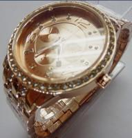 Hot sale top brands atmos clock charm gold Rhinestone kors quartz watch time men full steel watch Women dress watch Relogio