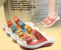 2014 summer genuine leather platform swing shoes comfortable casual wedges platform female slippers