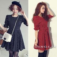 Vintage Korean Women Ladies Half Sleeve Polka Dot Print Chiffon Casual Party Skater Pleated Belt Novelty Mini Dress Size S 1313