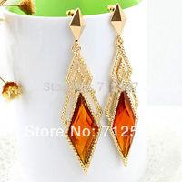 Hot Sale Colorful Created Gemstone Geometric Rhombus Drop Earrings for Women free shipping#3401