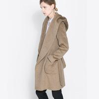 Women Coat Winter Wool Woolen Brad Casual With Cap Outwear Tops Clothing Windbreaker Casacos Femininos Deep Camel