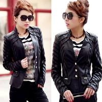 Large Size Leather Jacket Womens,PU Spliced Korean Slim Single-Breasted Short  Stand Collar Coat New 2014,M-L-XL-2XL-3XL-4XL-5XL