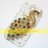 1 Pcs Handmade Bling Peacock Clear Hard back case For HTC Desire SV T326e