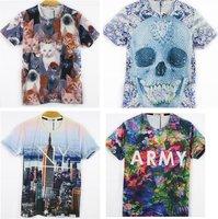 Free Shipping Fashion Animal Print 3D T shirt 3D Cat Print Tshirt Man T104