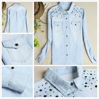 Spring 2014 Women Denim Blouse European Style Jean Shirt New women's water wash light color rivet denim shirt female long-sleeve