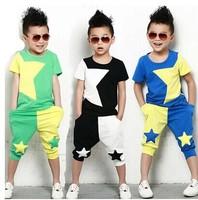 2014NEW children clothing set stars boys set baby sets short t shirt+pants 2 pcs set clothes kids suit 2-7Years