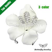 2014 New Fashion Elegant Enamel Crystal Large Flower Brooch Pin For Women Wedding Jewelry Wholesale