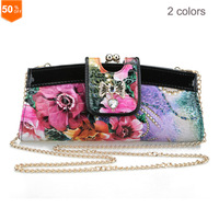 2014 Luxury Print Women Evening Bag PU Leather Diamante Designer Chain Clutches For Party