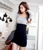 2014 spring new fashion sweet all-match mixed colors patchwork dress sexy slim women long sleeve brief one-piece dresses