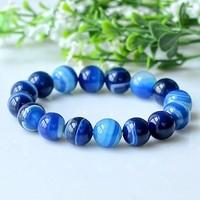 Natural sea blue agate bracelets The daughter of the sea 6-12 mm Blue sky gem stone bangles