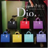 Free Ship 10pcs/lot Fashion Colorful Silicon Bag Classic Bag Dust Plug Earphone Ear Cap Dock Bag Jack Plug for iPhone retail bag