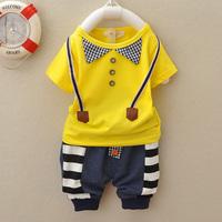 2014 Baby Boys Suit t-shirt,Spring/Summer Kids Baby Girls Cartoon Set,children's Clothing Sets cotton Short-sleeved+pant 0-2year
