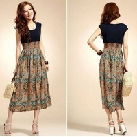 Free shipping 2014 new summer women dress bohemian beach dress sleeveless printed chiffon dress
