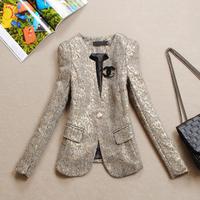 2014 women's spring short jacket outerwear woman V-neck elegant slim small blazer suit long sleeve one button jacket XXL XXXL