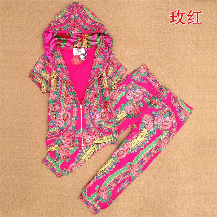 Love couture by lourdes print short-sleeve capris sports set 100% cotton casual set sport suit women brand sports suit(China (Mainland))