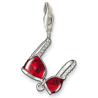New Fashion bra charm pendant with transparent-red enamel Trendy red silver pendant necklace for women free shipping