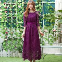 2014 Spring Three Quarter Sleeve Hollow out Lace Long Design Dress, High Waist Elegant Cutout Flowers Full Lace Dress