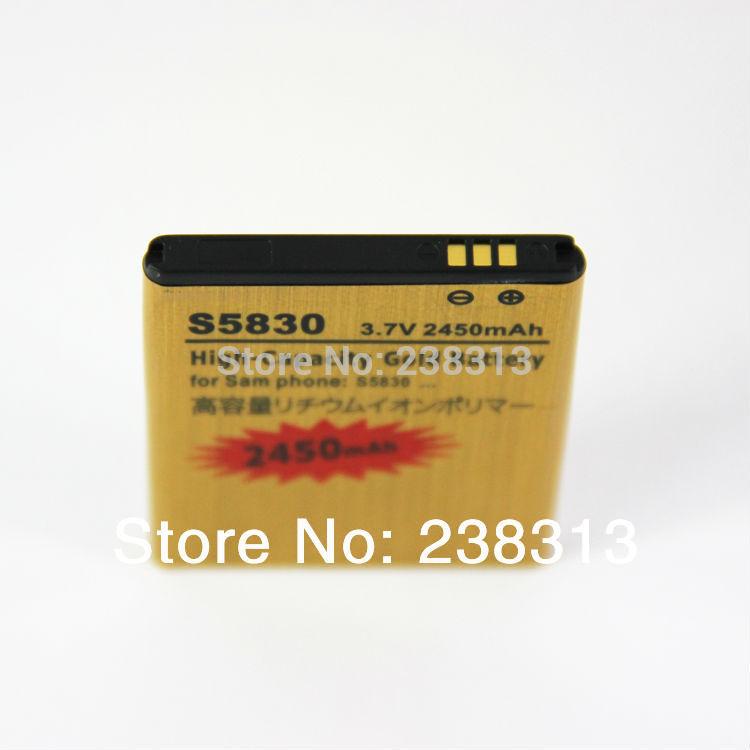 10pcs/lot For Samsung S5830 battery 3.7V 2450mAh High Capacity High Quality Free Shipping(China (Mainland))