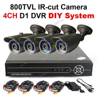 4CH D1 HDMI p2p DVR DIY cctv system 800tvl IR-cut CMOS cctv camera with cables and 12V power supply cctv kit