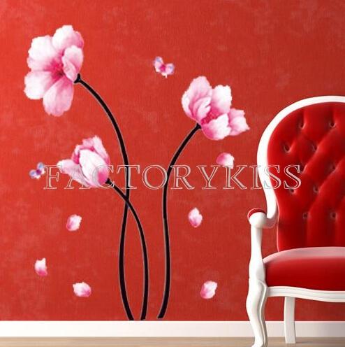 Персиковый цвет дерево искусства росписи наклейки съемных стены Термоаппликации diy украшения дома 4003-042