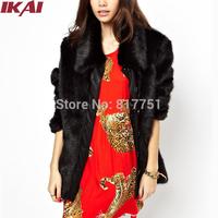 NBA308 Women Fur Overcoat Winter Fur Coat Fox Fur Jackets Black Luxury Jacket S~XXL Long Outwear