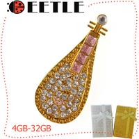 diamond necklace usb flash drive jewelry lute pendrive stick 4gb/8gb/16gb/32gb flash memory card usb u disk