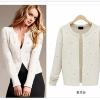 Beading cardigan outwear Women's european style sweater 2014 new fashion cotton knitwear knitted jacket cardigans