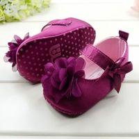 Kids Girl Purple Soft Sole Prewalker Cotton Shoes Bow Flower Princess Shoes Cute