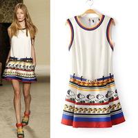 2014 new big size  fashion puppy printed sleeveless vest women summer  bandage dresses with free waist belts