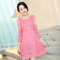 2014  Korean sweet women summer Lace bandage Dresses girl plus size XL  dress Women clothing