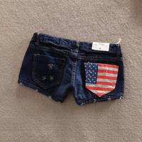 new 2014 spring denim shorts female Dark Blue american flag pocket moben jeans womens high fashion designer brands