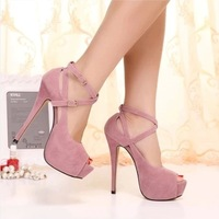 Female High-Heeled Shoes  2014  Platform Thin Heels Strap Open Toe Sexy  Sandals All-match Women's Shoes Free Shipping
