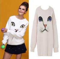 Drop ShipO-Neck Pullover Hoodie Women Oversized Plus Size Harajuku Sport Suit  Blue Eyes Cat Printed Long sudadera shirt