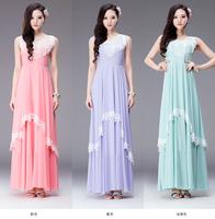 2014 New Original Design Tassels V-neck Women's Chiffon Dress, Floor Length Maxi Long Ladies Spring/Summer Dress