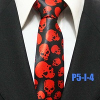 New Trend Mens Skull Festival Party Skull Neckties For Man Halloween Skinny Casual Red With Black Ties 5CM P5-I-4