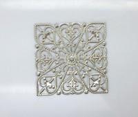 Free shipping-50Pcs Embellishment Findings Square Silver Tone Heart Pattern Hollow 4cm x 4cm, M01320