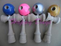 Via Fedex/EMS,  25x8CM Glossy 5 Hole Jumbo Kendama Japanese Traditional Wood Game Kids Toy PU Paint & Beech, 60PCS