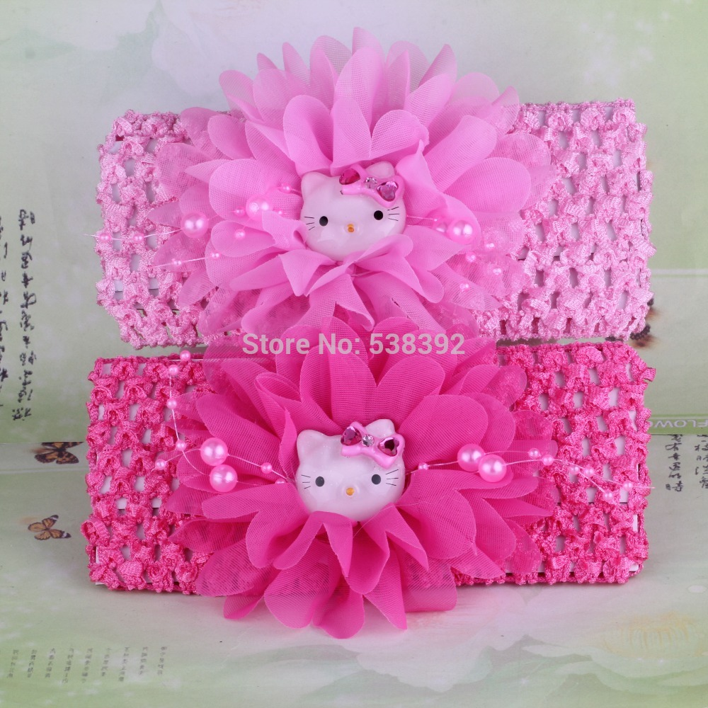 Hot sell Hello Kitty 2 pcs! New 2014 Spring Summer Chiffon Flower Kids Accessories Children Accessories Girls Hair Accessories(China (Mainland))