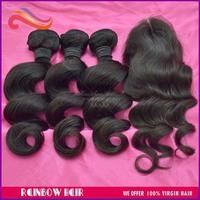 4pcs lot Braz-ilian Vir-gin Hair loose wave 3pcs Hu-man Hair Weave with 1 pcs Top Lace Closure free shipping