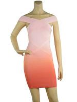 70% Discount! New Orange Ombre Off-shoulder Backless Elastic Knitted bandage dress Evening Dress Bandage Women Celebrity Dress