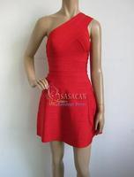 70% Discount! 2014 New Arrived Red One Shoulder A-line Elastic Knitted bandage dress Evening Dress Bandage Women Celebrity Dress