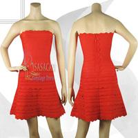 70% Discount! 2014 New White Scalloped-edge Strapless Elastic Knitted bandage dress Evening Dress Bandage Women Celebrity Dress