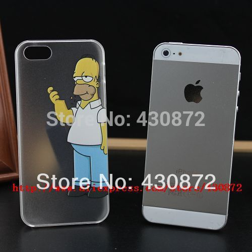 HOT Unique Transparent Simpson case cover for iphone 5 5s Hard cell phone cases covers to i5(China (Mainland))
