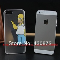 HOT Unique Transparent Simpson case cover for iphone 5 5s Hard cell phone cases covers to i5