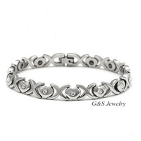 New 2014 Women's Silver Color 316L Stainless Steel Magnetic Bracelet with Heart & Cubic Zirconia Stone Scorpio Bracelet G&S002SB
