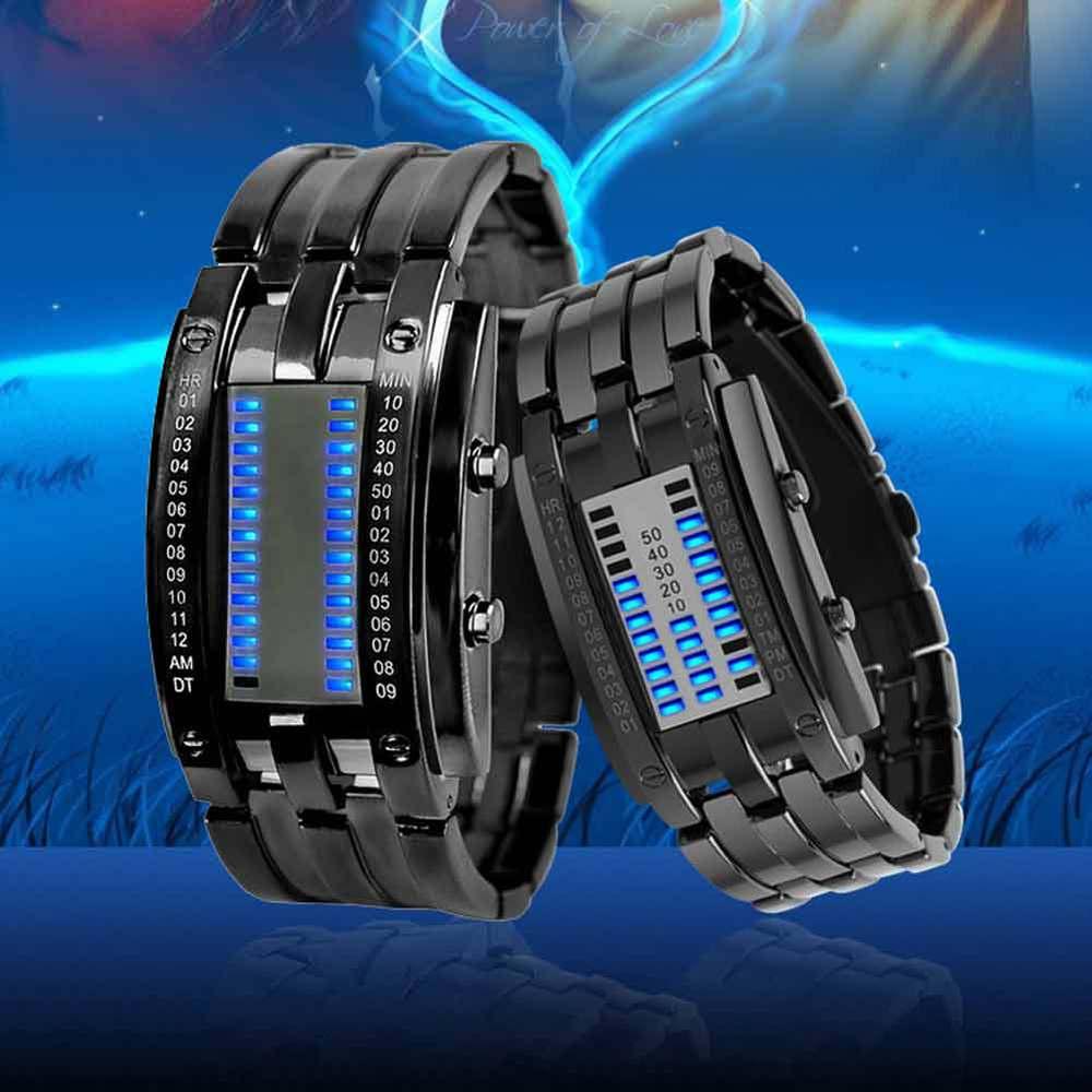 2014 New 30m Waterproof LED Electronic Watch Men Women Luminous Watches Casual Novelty Wristwatches Blue Binary Led Displayer(China (Mainland))